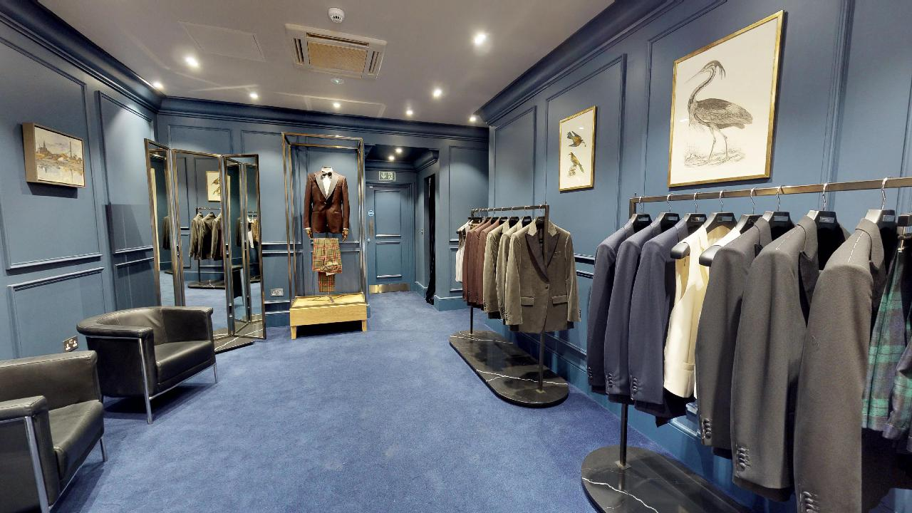 chester barrie blue carpet and wall