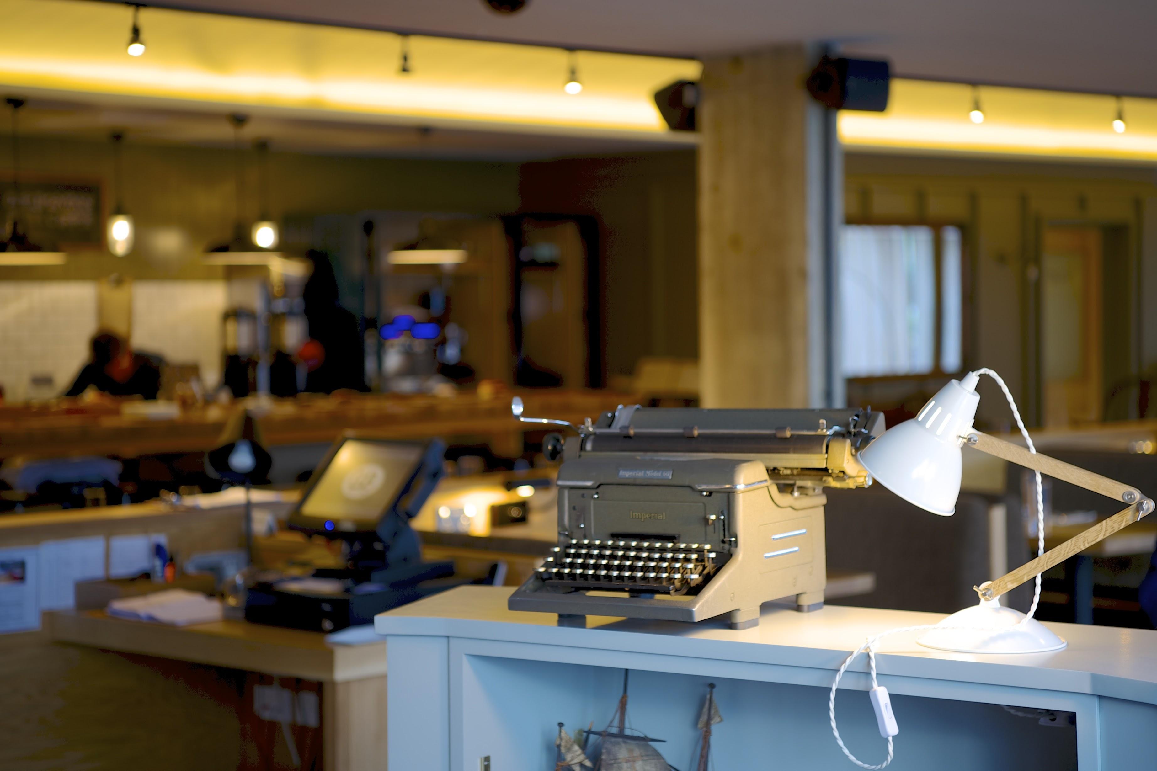 typewriter in hotel lobby best interior designs
