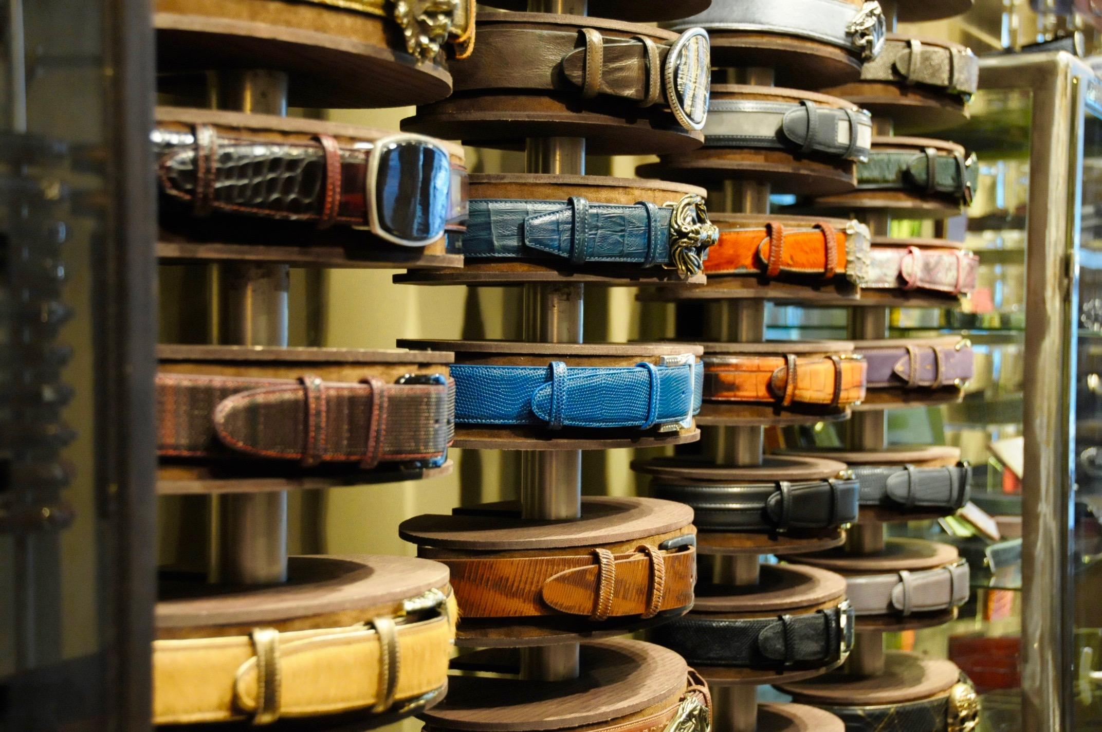 elliot rhodes belts interior shop display